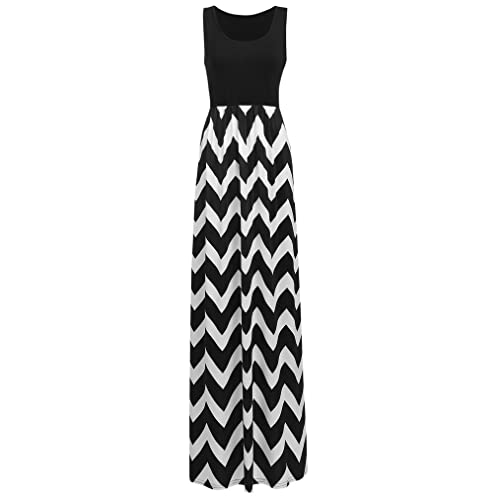 f7e5dd5988c3 Sherosa Women Boho Chevron Striped Print Summer Sleeveless Tank Long Maxi  Party Dress