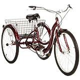 26' Schwinn Meridian Adult Tricycle with Rear Folding Basket, Cherry