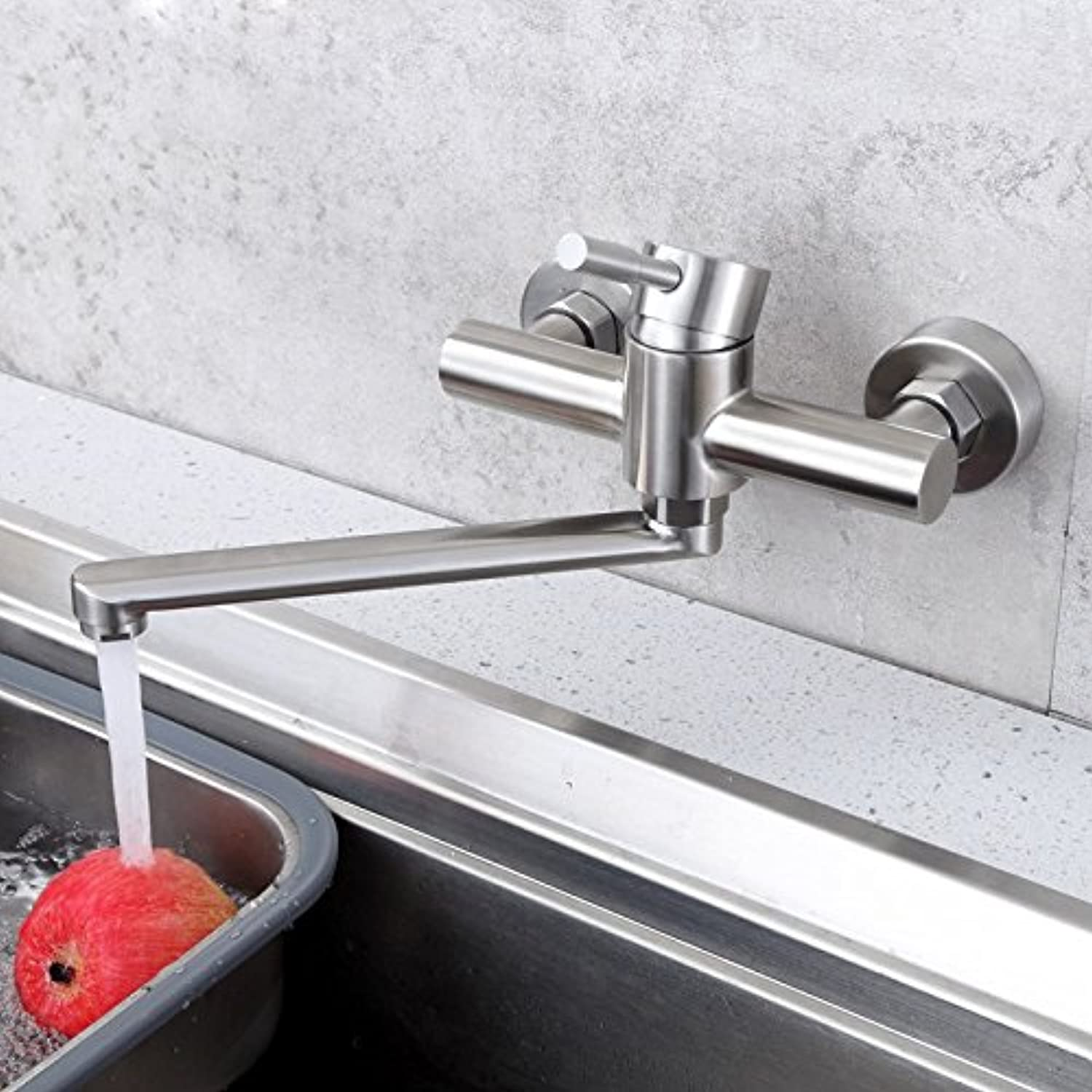 Hlluya Professional Sink Mixer Tap Kitchen Faucet The Kitchen dish washing basin balcony taps, 304 stainless steel into the wall 2-hole redating hot and cold laundry pool water faucet