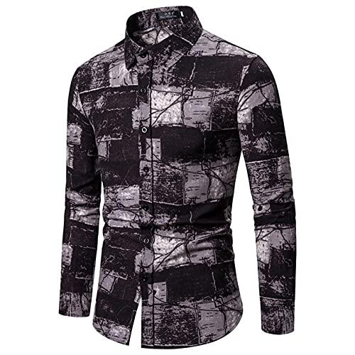 SSBZYES Camisas para Hombres Camisas De Manga Larga Camisas De Manga Larga para Hombres Camisas De Algodón Y Lino con Estampado Floral Tallas Grandes Camisetas De Manga Larga Tops Casuales