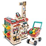 OKBOP Grocery Store Playset with Working Cash Register Scanner, Shopping Cart Pretend Play Set for Kids Toddlers Boys Girls, Simulation Supermarket Shopping Accessorie Sets Toy Gift (Multicolour)