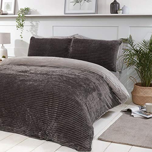 Linen Galaxy Ribbed Teddy Fleece Soft REVERSIBLE Duvet Cover Set with Pillow Cases Bedding (Charcoal with Grey, Double)