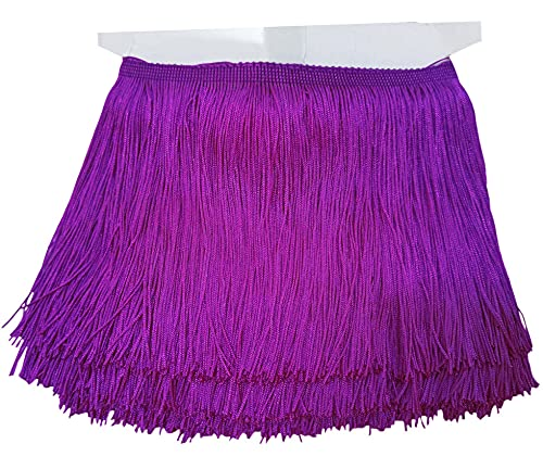 Lauthen.S 10 Yards of 6' Chainette Fringe Trim Tassel Sewing Trim for DIY Craft Latin Dress Lamp Shade Decoration Purple