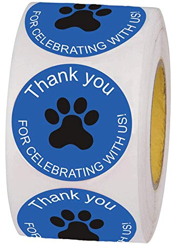 """1.5"""" Blue Dog Cat Animals Paw Print Thank You for Celebrating with Us Stickers Baby Shower Birthday Favor Sticker Labels 500 Round Thank You Labels Per Roll"""