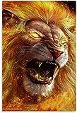 JSYEOP Póster de animal, diseño de león llameante, 40 x 50 cm