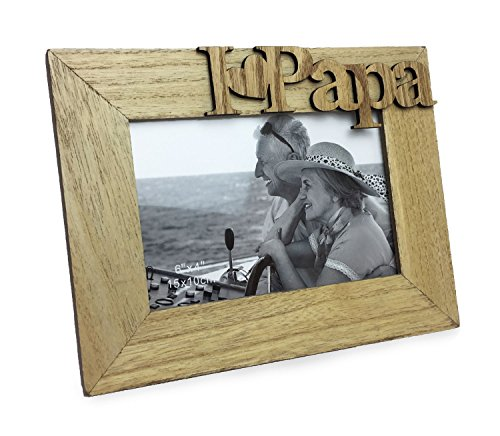 """Isaac Jacobs Natural Wood Sentiments """"I Love Papa"""" / I Heart Papa Picture Frame, 4x6 inch, Photo..."""
