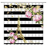 Abstract Paris Shower Curtain Black White Stripe Pink Rose Golden Eiffel Tower Spring Vintage Plant Peony Flower Fantasy Scene Fabric Bathroom Curtain Set 70x70 Inch with Hooks