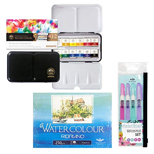 Mungyo Professional Half Pans Size Watercolors Set, 12 Colors in Tin Case (incl. MUNGYO Watercolor Tin Case 12 Colors, Set of 4 Water Brush Pen, Watercolor Postcard Pad A6 20sheets)