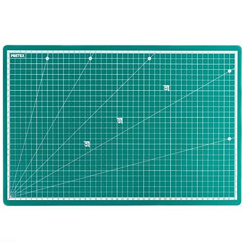 PRETEX para Cortar, 45x 30cm (A3) Reciclado PVC en Verde con selbstschließender, selbstheilender Superficie | 2años Garantía de satisfacción | 611386, Cutting Mat