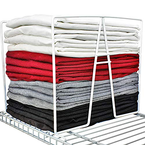 TitanSecure White Wire Shelf Dividers for Closets - Best Closet Organizer That Takes Seconds to Install Organize Your Bedroom Bathroom and Much More - Works on Most 12 Inch Wire Shelves Set of 8