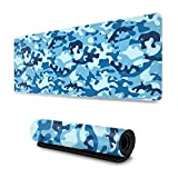 Large Gaming Mouse Pad Blue Camo Extended Mouse Pads Non-Slip Rubber Base Waterproof Keyboard Pad Desk Mat for Game Work Office 31.5×11.8 Inch