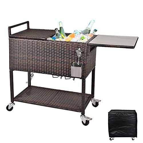 RELAXIXI 80 Quart Rattan Rolling Cooler Cart, Portable Wicker Cooler Trolley, Beverage for Patio Pool Party, Ice Chest with Cutting Board, Bottle Opener, Cap Catch and Cover (Dual Top - Brown)