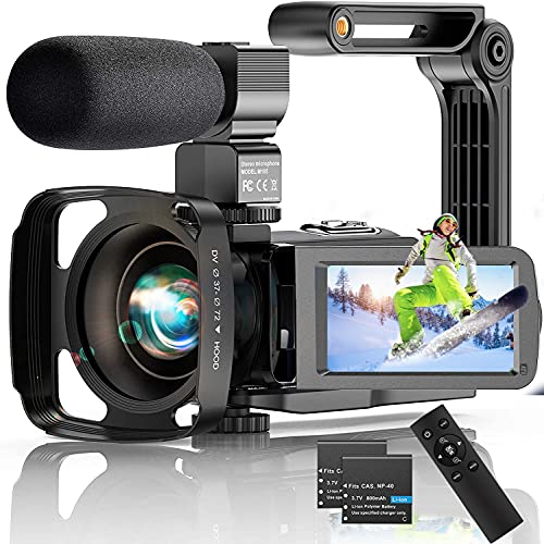 Video Camera 4K Camcorder, 56MP 30FPS IR Night Version WiFi Vlogging Camera 3.0 Inch Touch Screen 18X Zoom Digital Camera YouTube Recorder Camera with Microphone, 2.4G Remote Control, Lens Hood