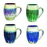 Rockin Gear MUG Large Coffee Mugs 4 set 20 Ounce - Handmade Beautiful Glazed Ceramic Coffee and Tea Cups - hot beverage breakfast