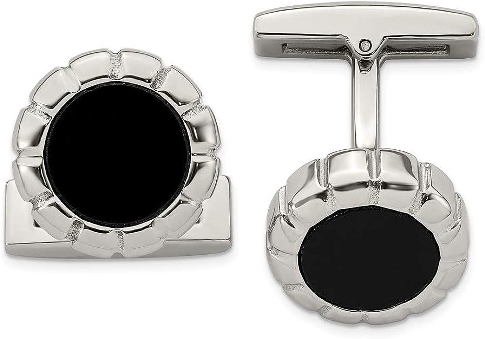 Stainless Steel Men's Black IP Scalloped Round Cufflinks