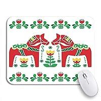 ROSECNY 可愛いマウスパッド グリーンノルディックスウェーデン語ダラDaleclarian馬民俗パターン赤ノンスリップゴムバッキングコンピューターマウスパッドノートブックマウスマット