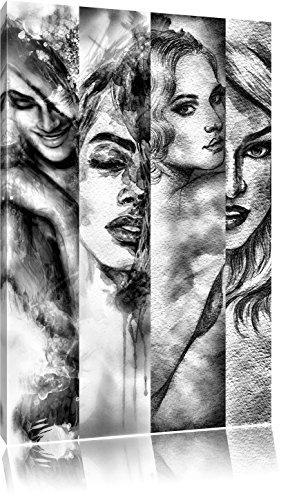 Monocrome, Haar Frisuren, Format: 100x70 auf Leinwand, XXL riesige Bilder fertig gerahmt mit Keilrahmen, Kunstdruck auf Wandbild mit Rahmen, günstiger als Gemälde oder Ölbild, kein Poster oder Plakat