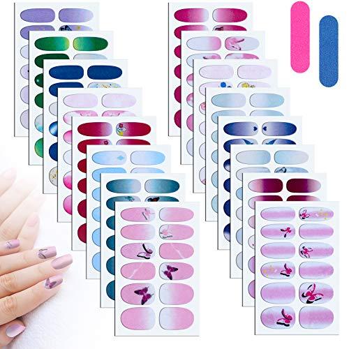 MWOOT 16 Blatt Schmetterling Nagelsticker mit Nagelfeilen,Nail Art Aufkleber Nagelfolie,Nagelaufkleber Abziehbilder, Selbstklebende Maniküre Sticker zum DIY Nagelkunst Dekoration