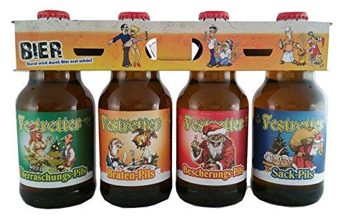 Weihnachts Pils Festretter Weihnachtsbier im witzigen Bierschaum 4er Träger
