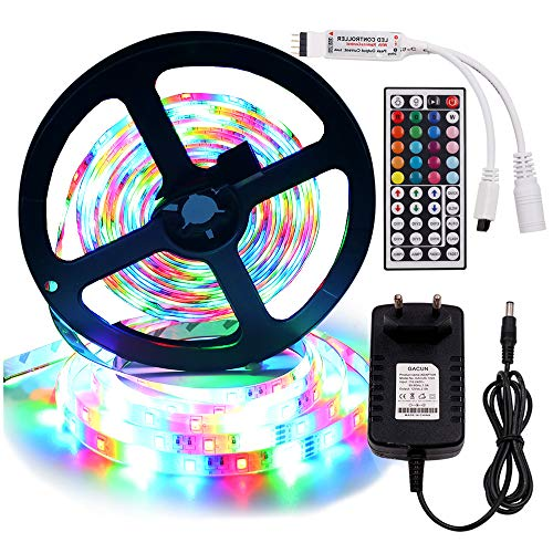 XUNATA 12V Tiras LED RGB 2835 SMD 300 LEDs Para TV Tira de Luces LED Kit Completo con control remoto de 44 teclas (5m, IP21- No impermeable)