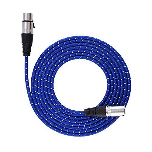 Broco XLR 3-pins stekker naar bus verlengkabel audio microfoon kabel gevlochten nylon, 3m