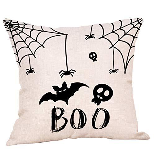 phjyjyeu Fundas de almohada de Halloween de 45,7 x 45,7 cm de lino al aire libre, funda de almohada de murciélago, telaraña, calaveras, cojín decorativo para decoración del hogar, 45,7 x 45,7 cm