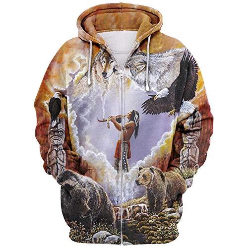 Etoilemer Unisex Indian Zipper Hoodie, Indianer Indianer Kopfschmuck Pullover, Indianer Spirit Sweatshirt, Mens Womens Noverlty Tops