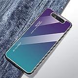 Urhause Compatible con Funda Samsung Galaxy A80 Carcasa Trasera Case Vidrio Templado Degradado Color Cubierta Ultradelgado Anti-Rasguño Funda Protección 360 Grados Rígido Dura Bumper,Cian Morado