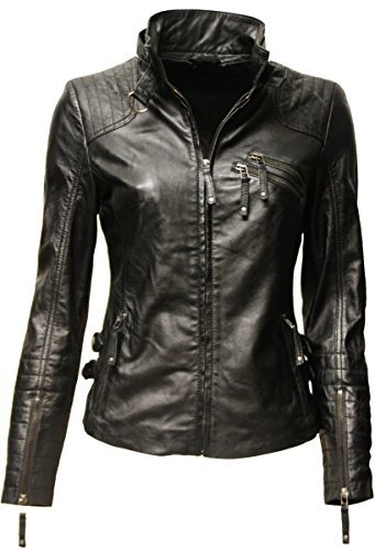 Zimmert Damen Biker Leder-Jacke Amy gesteppt, Washed, Used-Look, Slim-Fit (40, Schwarz)