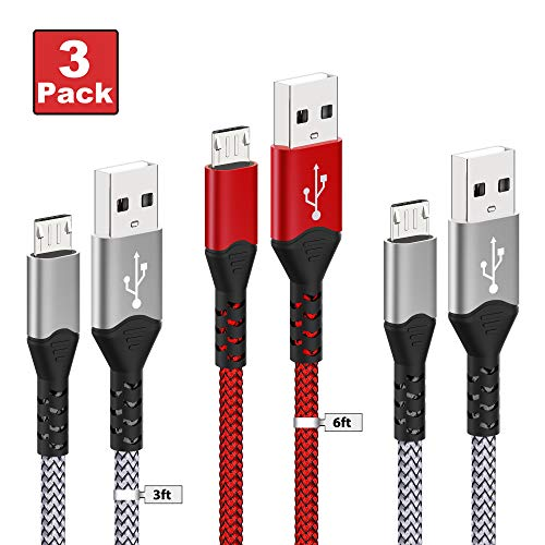 Micro USB Cable,Tujun [3-Pack/3ft+3ft+6ft] Android USB Fast Charging Nylon Cord for Samsung Galaxy S7 S6 S5 J7 Note 5, Kindle, Nexus, Sony, Xbox, HTC, PS4 and More (Silver+Red)