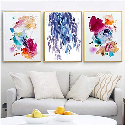 Conjunto De 3 Piezas De Lienzo, Arte De La Pared, Colorido, Acuarela, Arte De La Pared, Lienzo, Graffiti, Pintura, Cuadros Abstractos...