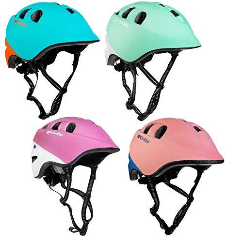 SPOKEY Fahrradhelm Kinder verstellbar Fahrrad Helm für 1-8 Jahre Alt Jungen Mädchen Größen: 44-48cm, 48-54cm (Türkis-Weiß, 44-48cm)