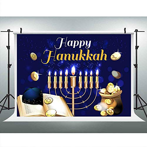Happy Hanukkah Banner Chanukah Decorations Backdrops for Photography, Israel Hebrew Menorah Blue Shiny Lamps Chanukah Festive Party Decor Background, Photo Booth Picture Props DSLU546