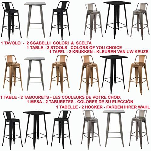 Fleda TRADING Set 1 Tavolo Alto e 2 Sgabelli Tutto in Metallo, da Bar Stile Industriale Tipo TOLIX. Offerta Colori Assortiti