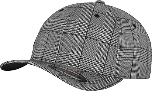 Flexfit Damen und Herren Baseball Caps Glen Check Cap, Black/White, S/M
