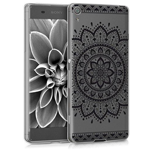 kwmobile Hülle kompatibel mit Sony Xperia XA - Handyhülle - Handy Hülle Aztec Sonnenblume Schwarz Transparent
