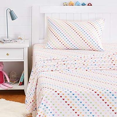 AmazonBasics Kids Rainbow Hearts Soft, Easy-Wash Microfiber Sheet Set - Twin, Multi-Color Hearts