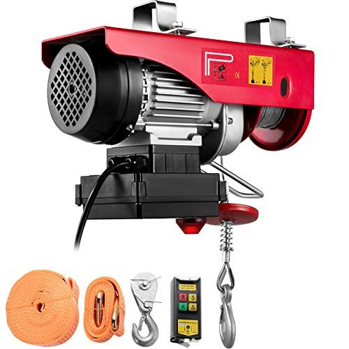 VEVOR 440LBS Electric Hoist With Wireless Remote Control & Single/Double Slings Electric Winch, Steel Electric Lift, 110V Electric Hoist For Lifting In Factories, Warehouses, Construction Site