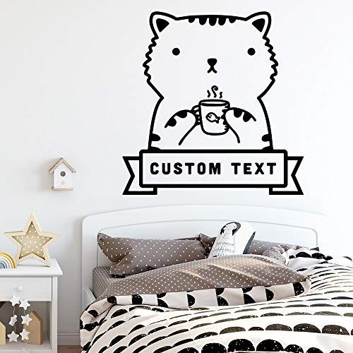 BailongXiao Niedliche Tier Custom Name Tapete Dekoration Wandaufkleber für Kinderzimmer Dekoration Aufkleber 42x42cm