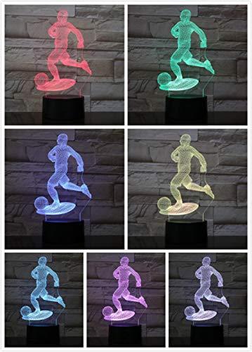 Sport Action voetbal cartoon 3D nachtlicht USB touch slaapkamer bureau LED tafellamp zeven kleur verjaardagscadeau