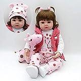 Muñeca Reborn de 18 Pulgadas y 45 cm de Silicona Suave, Pelucas de Boca magnética para el Cuerpo, Juguetes realistas para niños y niñas, cumpleaños, Navidad