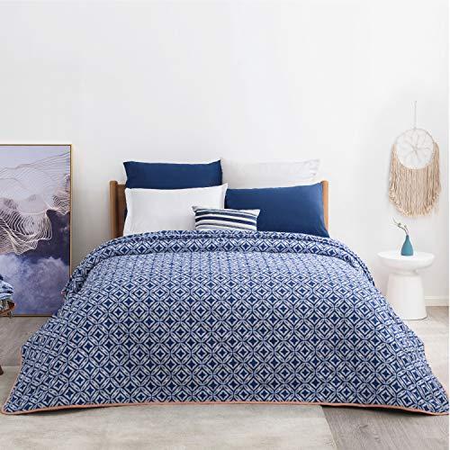 Bedsure Tagesdecke Schlafzimmer 240 x 260 cm, gesteppt überdecke tagesdecken 240 x 260 blau samt, tagesdecken bettüberwurf mit schickem Blumenmuster als Bett tagesdecke 240 x 260