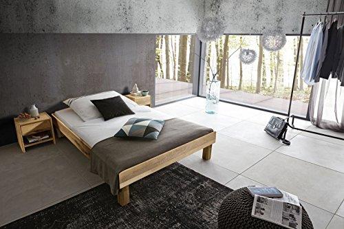 SAM Massiv-Holzbett 90x200 cm Columbus in Wildeiche Natur, ohne Kopfteil, 100% FSC®-Zertifiziert