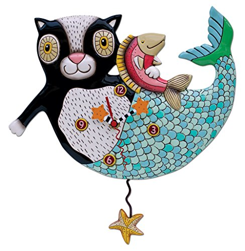 Allen Designs Mermaid Cat Mercat Pendulum Clock