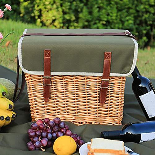 Picknickkorb 4 Personen, Deluxe Wicker Picknick Picknickkorb Mit Tisch,Teller,Besteck Und Picknick Decke FüR Camping,Picknick Und Outdoor Party