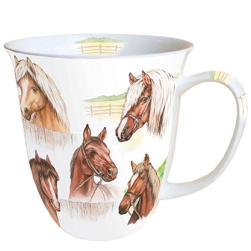 Espritdutemps Porzellan Becher, Mug, Tasse, Fuer Tee Oder Kaffee ca. 0,4L Horse Range Pferde Ideal Als Geschenk