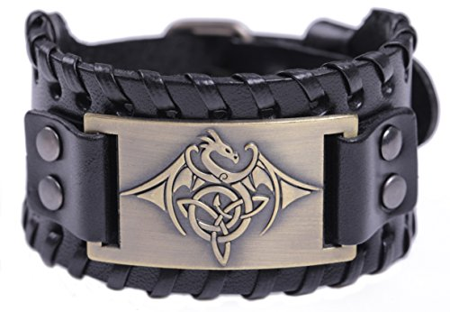TEAMER Celtic Trinity Knot Triquetra Bracelet Wing Dragon Leather Bracelet Gift Jewelry for Men (Antique Bronze,Black)