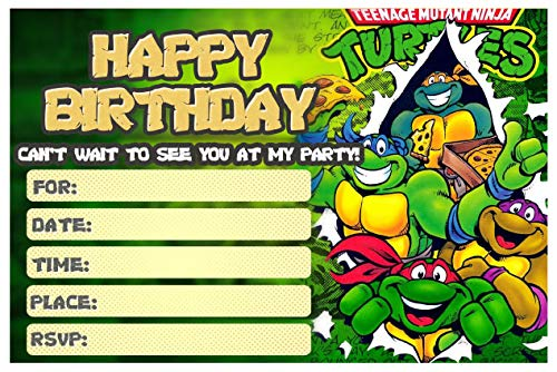 Happy Choice Invitation Cards - TMNT New Happy Birthday Fill-in 20 Envelopes-Light Weight 230 Gram Post Card Style Invites for Kids Party