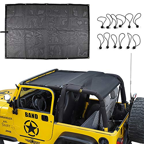 for Jeep TJ Durable Mesh Sunshade Top Cover Provides UV Sun Shade Protection For 1996-2006 Jeep Wrangler TJ