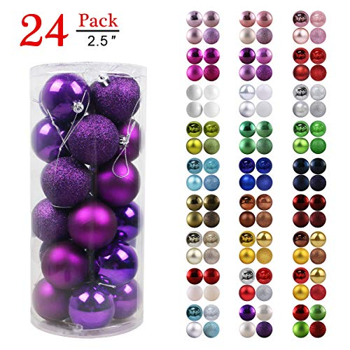 GameXcel Christmas Balls Ornaments for Xmas Tree - Shatterproof Christmas Tree Decorations Large Hanging Ball Purple 2.5' x 24 Pack